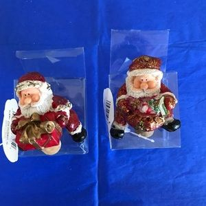 Pair of Santa Claus wine corks